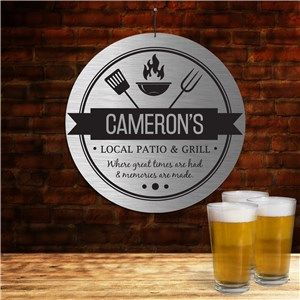 Personalized Local Patio And Grill Round Sign