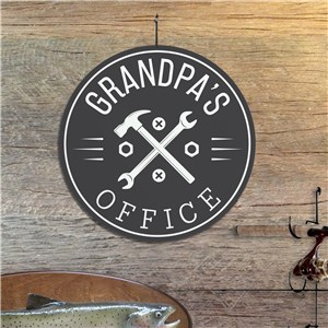 Personalized Grandpa's Office With Tools Round Sign