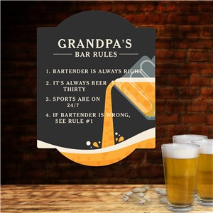 Personalized Bar Rules Wall Sign