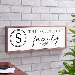 Personalized Initial Family Framed Wall Sign