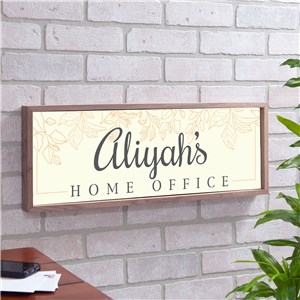 Personalized Leafy Home Office Framed Wall Sign