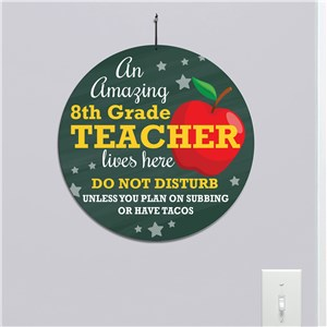 Personalized Teacher with Apple Round Sign