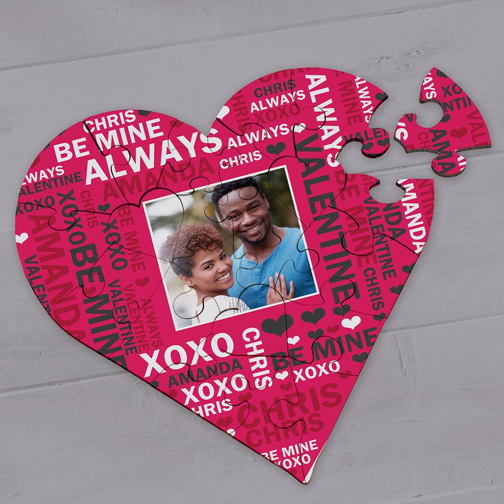 Personalized Photo Word-Art Heart Puzzle
