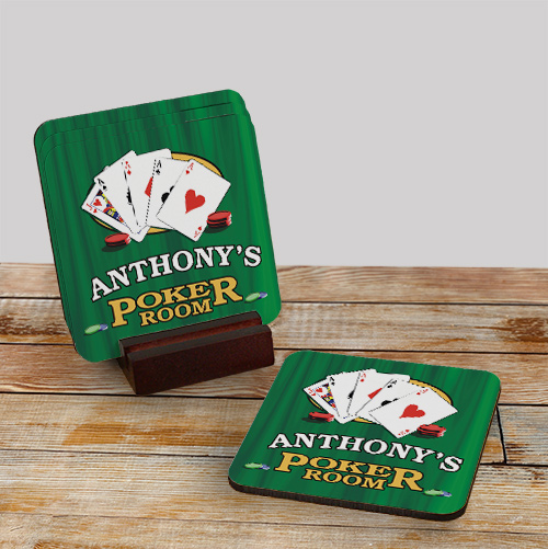Poker Room Personalized Coaster Set