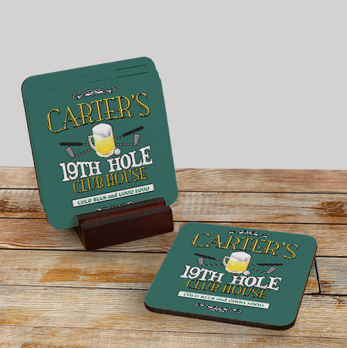 Personalized Bar Coaster Set | Personalized Golf Gifts For Fathers Day