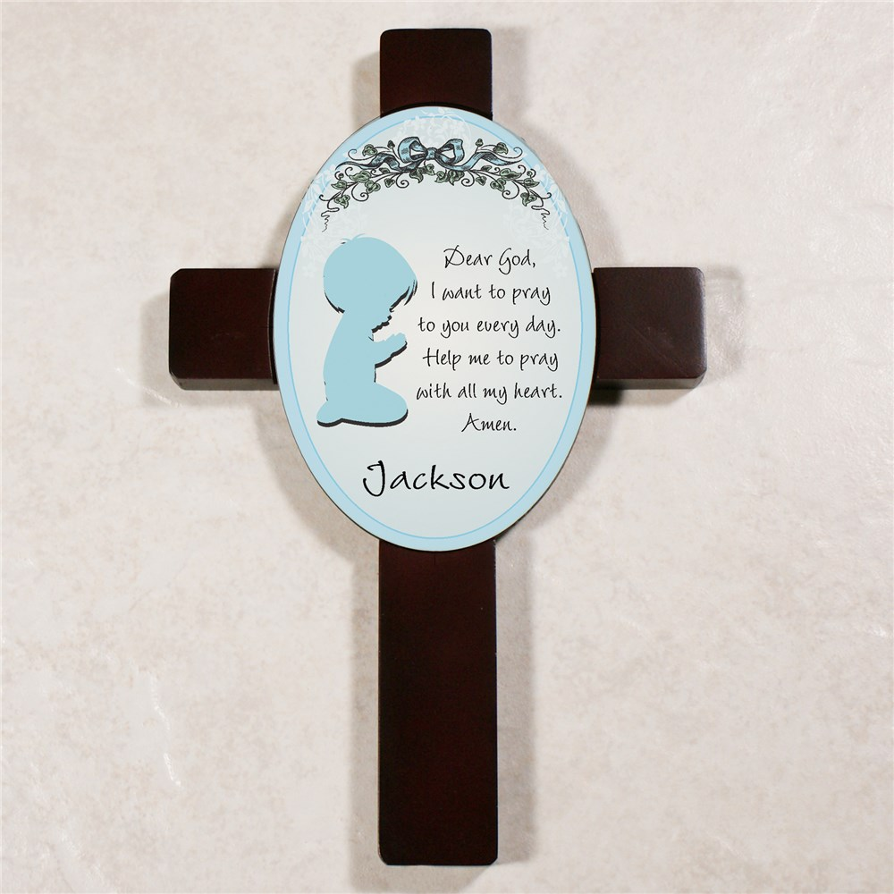 Boy's Bedroom Personalized Prayer Cross | Personalized Baptism Gifts