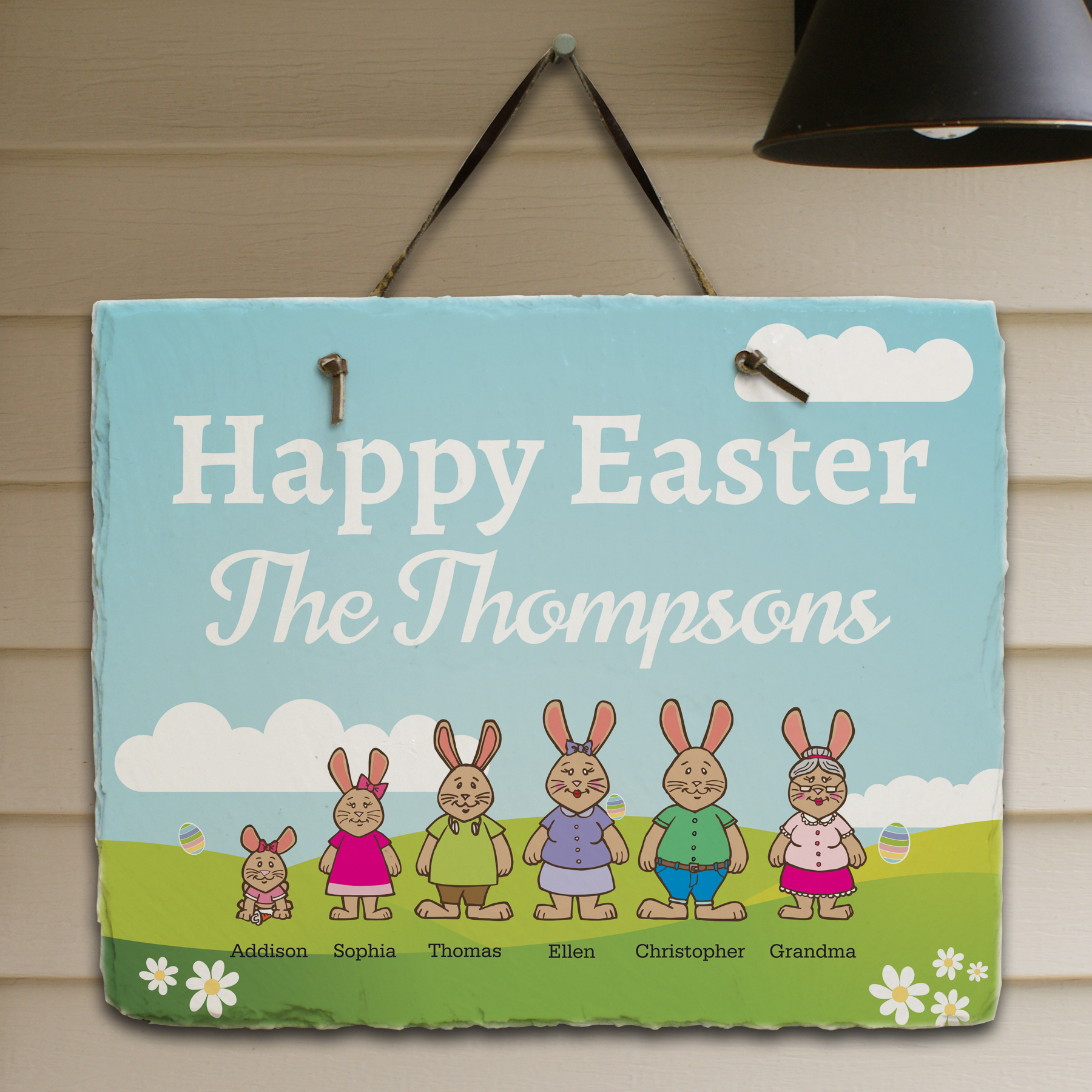 Personalized Bunny Family Slate | Personalized Welcome Signs