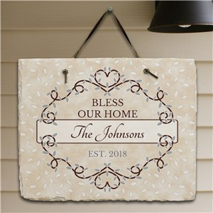 Personalized Bless Our Home Slate | Personalized Housewarming Gifts