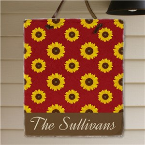 Personalized Sunflower Slate Plaque | Personalized Housewarming Gifts