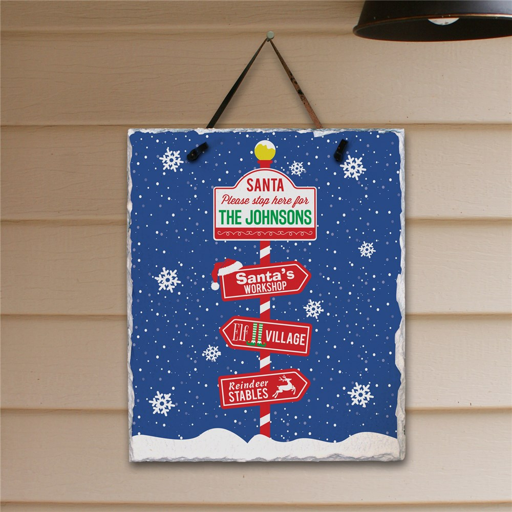 Personalized Santa Please Stop Here Slate Plaque | Christmas Plaques