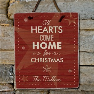 Personalized Hearts Come Home Slate Plaque | Personalized Christmas Decor