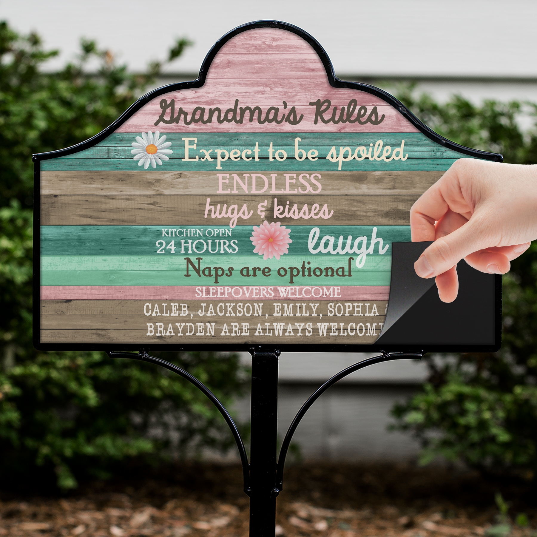 Personalized Grandmas Rules Magnetic Sign V6311115410