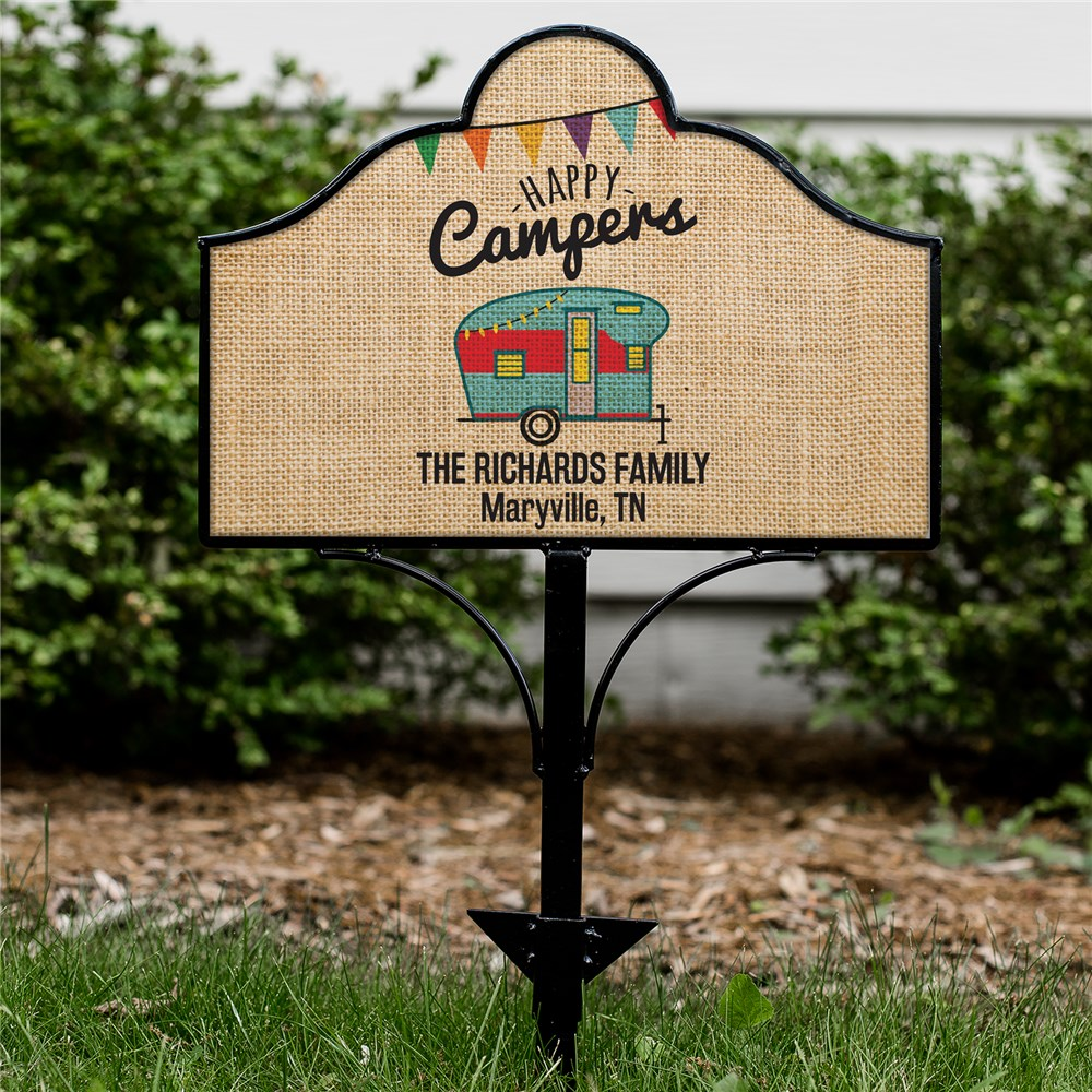 Personalized Happy Camper Magnetic Yard Sign Set | Personalized Metal Yard Sign