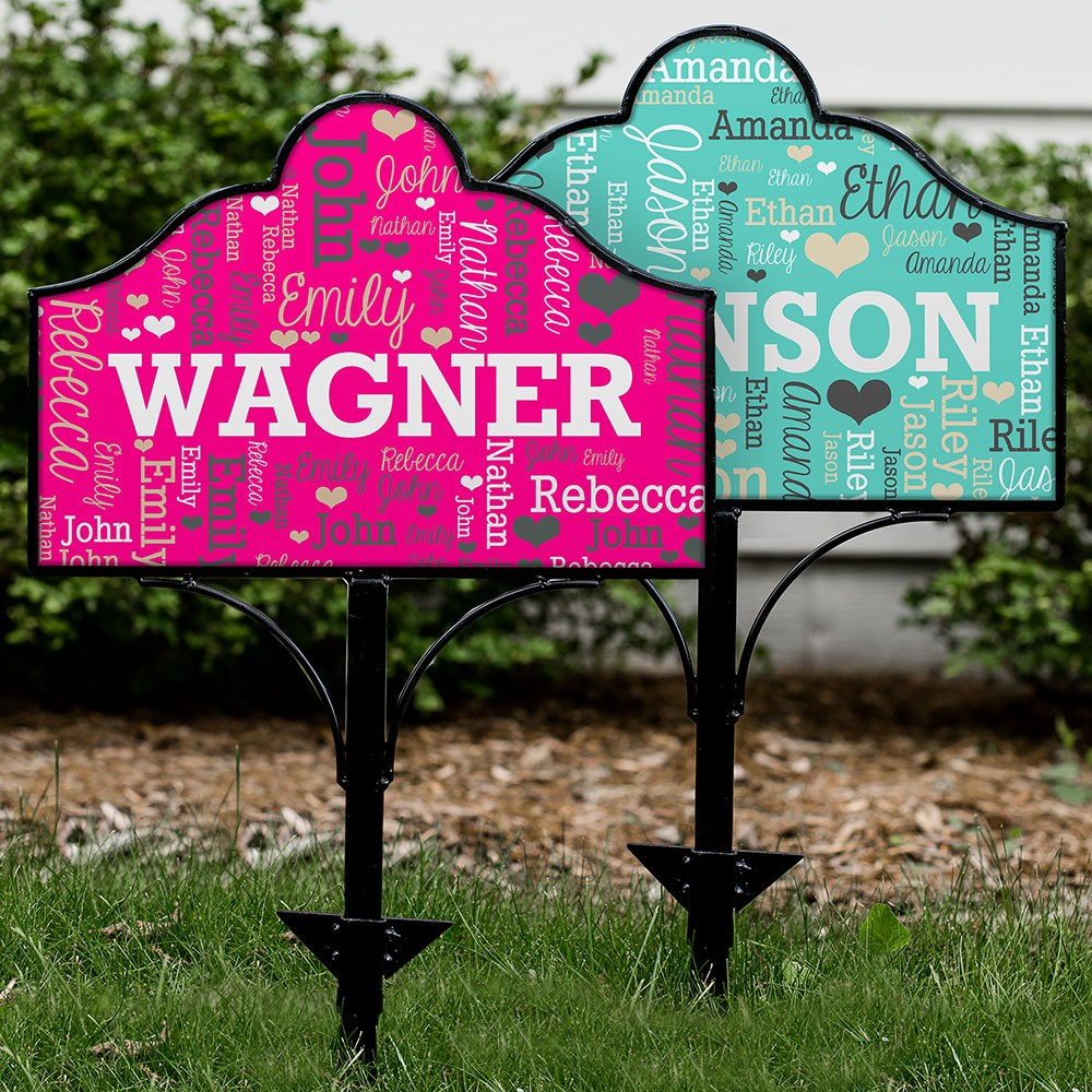 Personalized Family Word-Art Magnetic Sign Set | Personalized Garden Signs