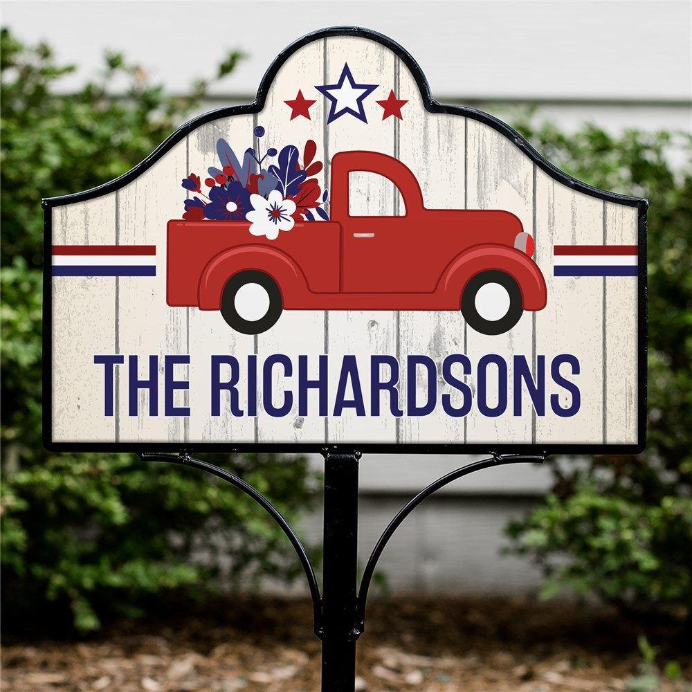 Personalized Patriotic Vintage Truck Magnetic Sign Set | Personalized Yard Signs