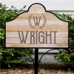 Personalized Rustic Wreath Magnetic Sign Set | Personalized Yard Signs