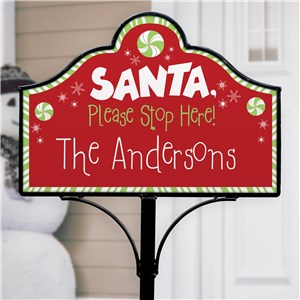 Santa Please Stop Here Personalized Magnetic Sign Set | Personalized Santa Stop Yard Sign