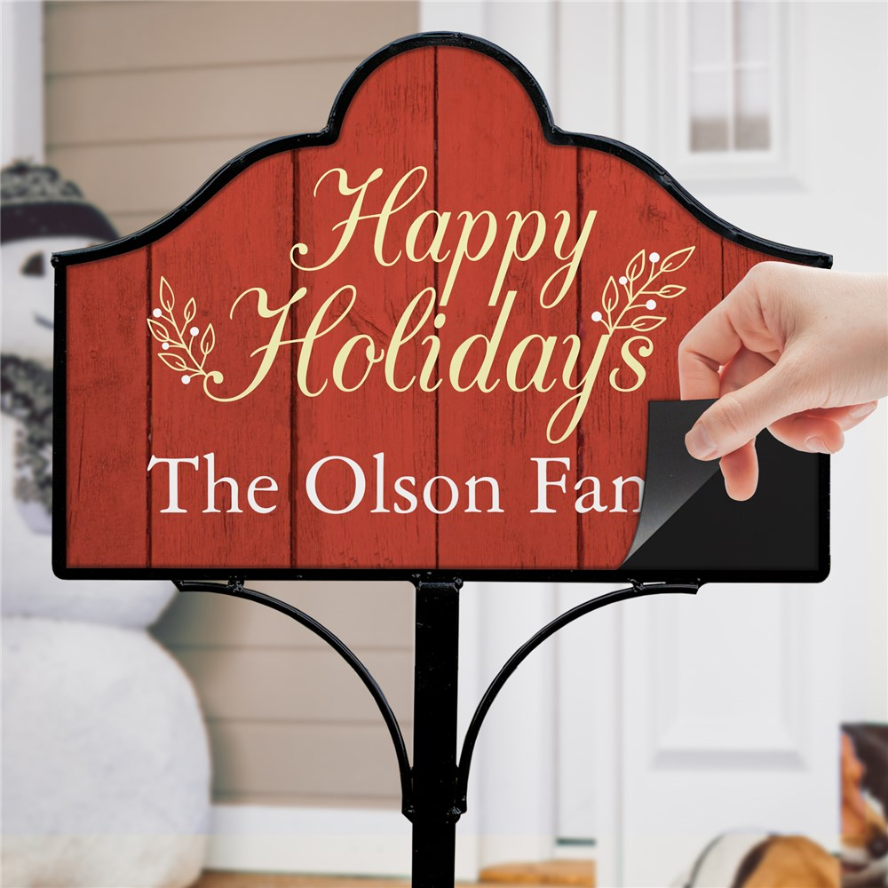 Happy Holidays Personalized Magnetic Sign Set | Personalized Christmas Yard Sign