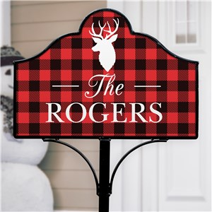Plaid Deer Personalized Magnetic Sign Set | Personalized Yard Signs