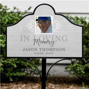 Personalized In Loving Memory Photo Magnetic Sign Set | Personalized Grave Decorations