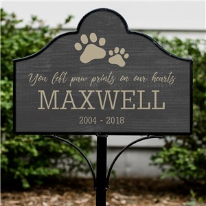 Personalized You Left Paw Prints On Our Hearts Magnetic Sign Set | Personalized Pet Memorials
