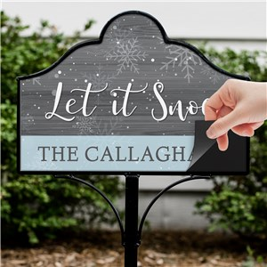 Let It Snow Magnetic Personalized Yard Sign | Personalized Garden Signs