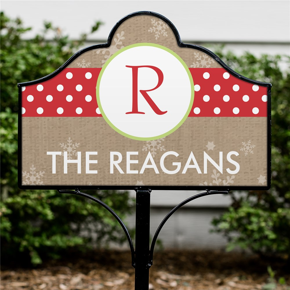 Personalized Whimsical Polka Dot Initial Magnetic Yard Sign Set | Magnetic Signs