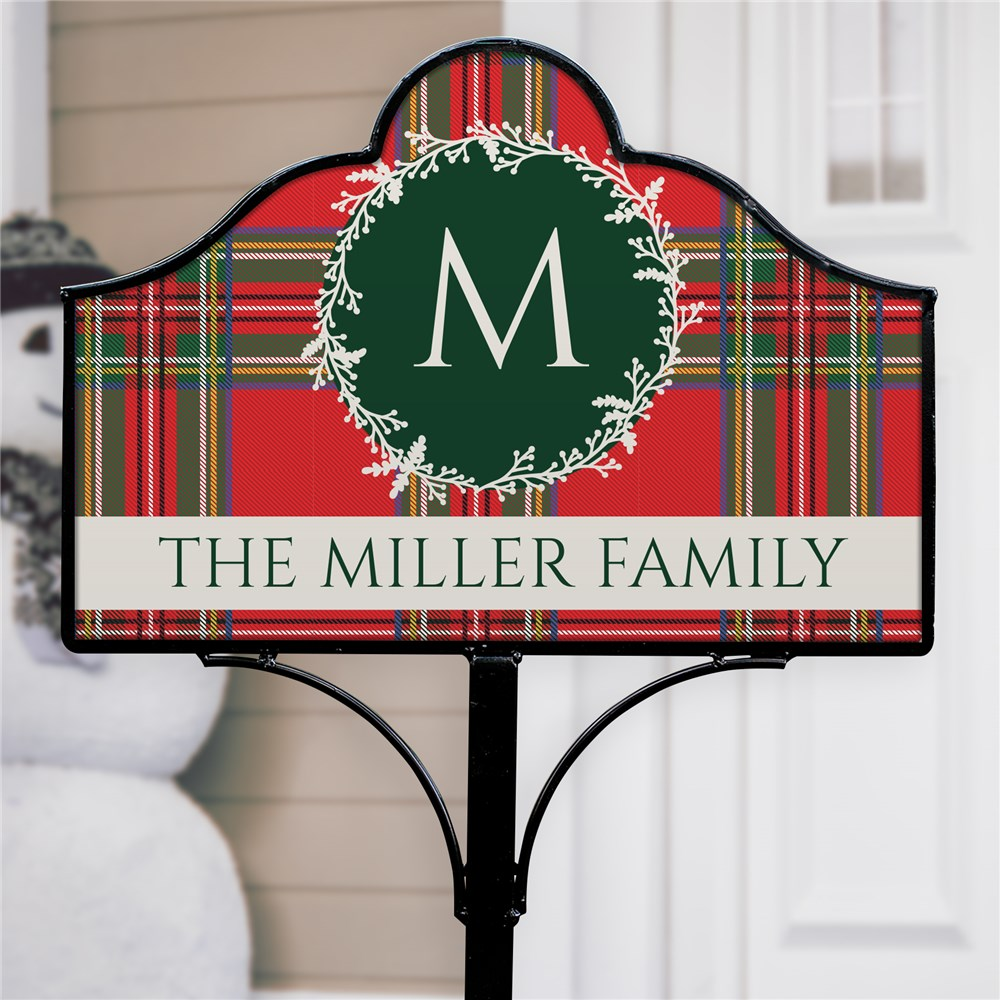 Personalized Tartan Plaid Initial Magnetic Garden Sign Set | Personalized Garden Signs
