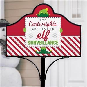 Elf Surveillance Personalized Garden Sign Set | Christmas Yard Sign