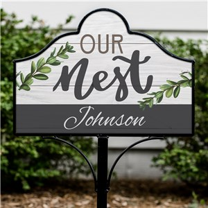 Personalized Metal Yard Sign  | White Washed Wood Yard Sign