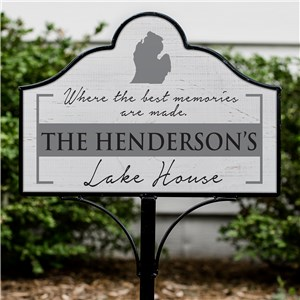 Personalized Metal Yard Sign  | Magnetic Sign for Yards with State