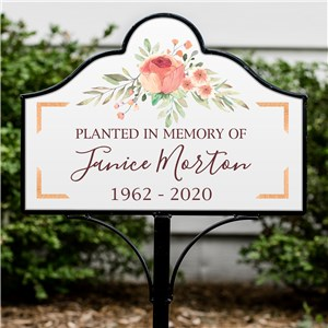 Personalized Metal Yard Sign | Floral Memorial Planting Stake
