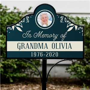 Personalized Blue With Cream Leaves Memorial Photo Magnetic Sign Set 6311491510S