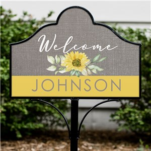Personalized Sunflower Welcome Magnetic Yard Sign Set