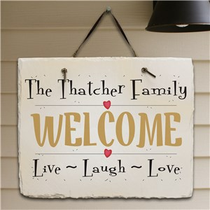 Live, Laugh, Love Personalized Slate Plaque | Personalized Welcome Signs