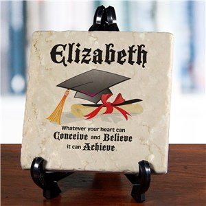 Conceive, Believe, Achieve Personalized Graduation Tumbled Stone Plaque| Inspirational Gifts For Grads 2019