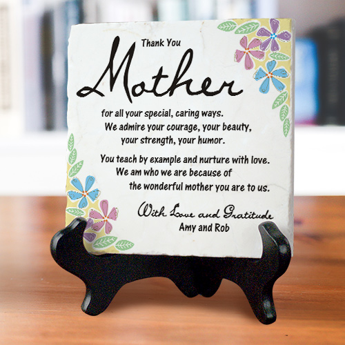 Thank You Mom Personalized Tumbled Stone Plaque | Mother's Day Gifts