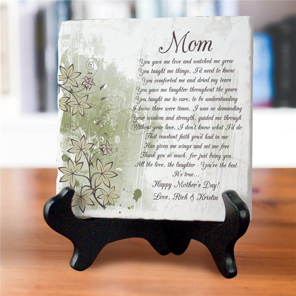 To My Mom Personalized Tumbled Stone Plaque | Custom Gifts For Mom
