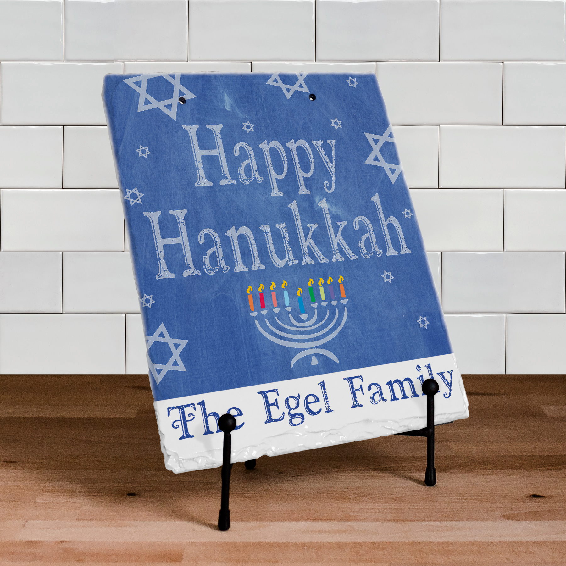 Happy Hanukkah Slate Plaque | Personalized Welcome Signs
