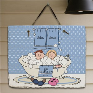 Tub Couple Wall Slate Plaque | Personalized Welcome Signs