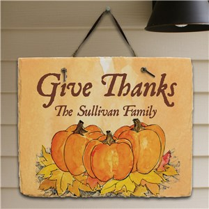 Give Thanks Personalized Slate Plaque | Personalized Welcome Signs