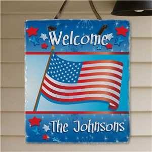 Welcome July 4th Personalized Slate Plaque | Personalized Welcome Signs