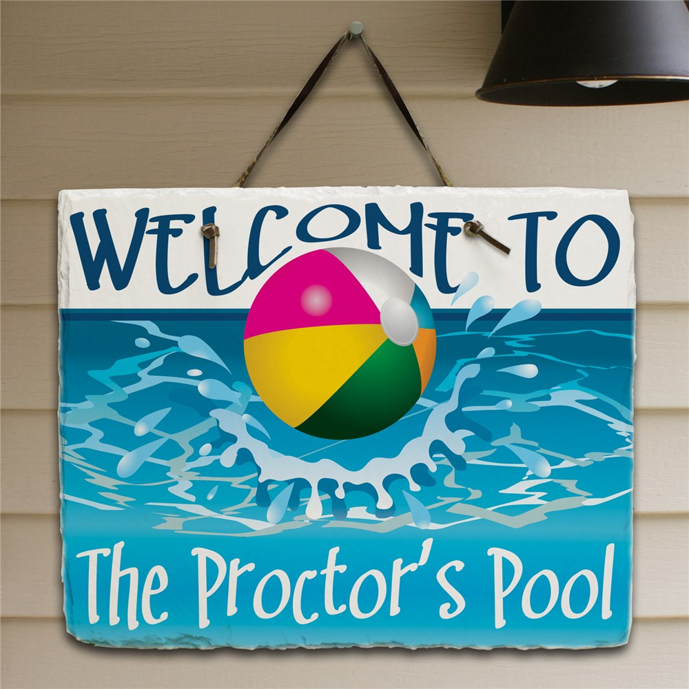 Beach Ball Welcome Slate Plaque | Personalized Welcome Signs