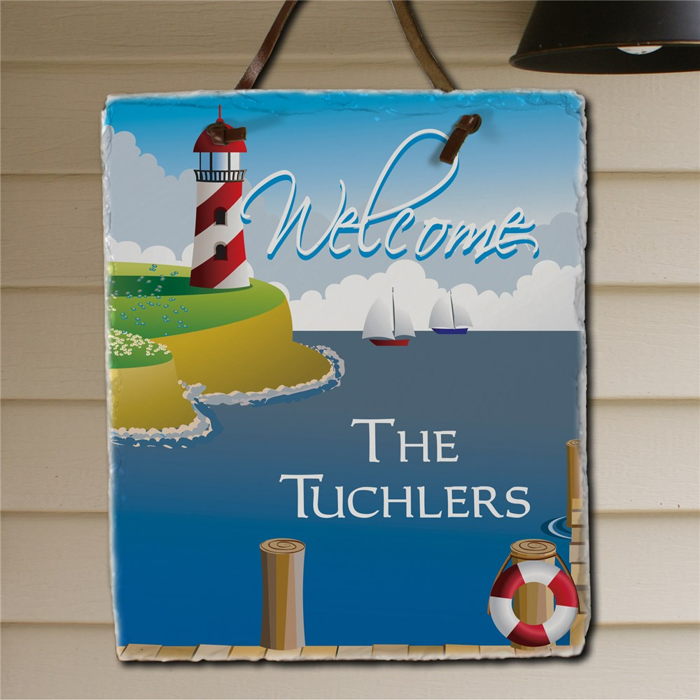 Lighthouse Welcome Slate Plaque | Personalized Welcome Signs