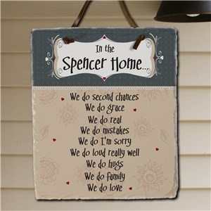 In Our Home Personalized Slate Plaque | Personalized Welcome Signs