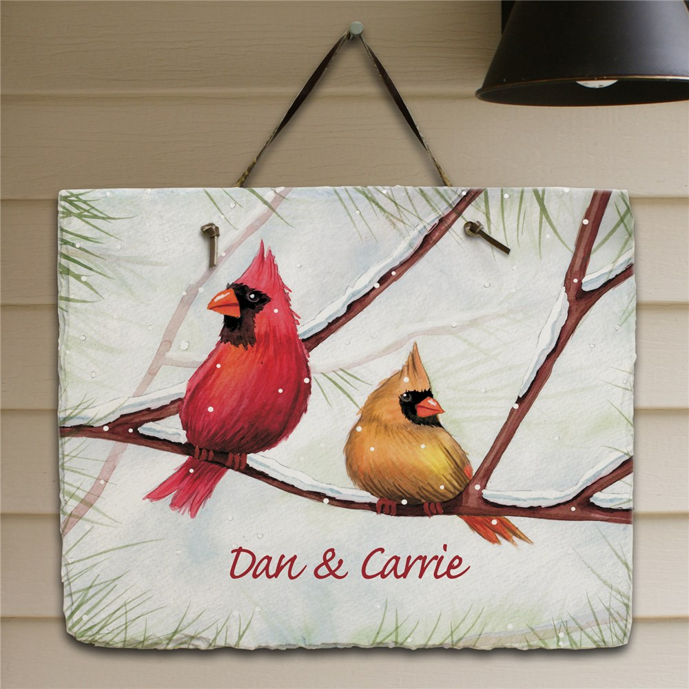 Personalized Cardinals Welcome Slate Plaque | Personalized Christmas Signs