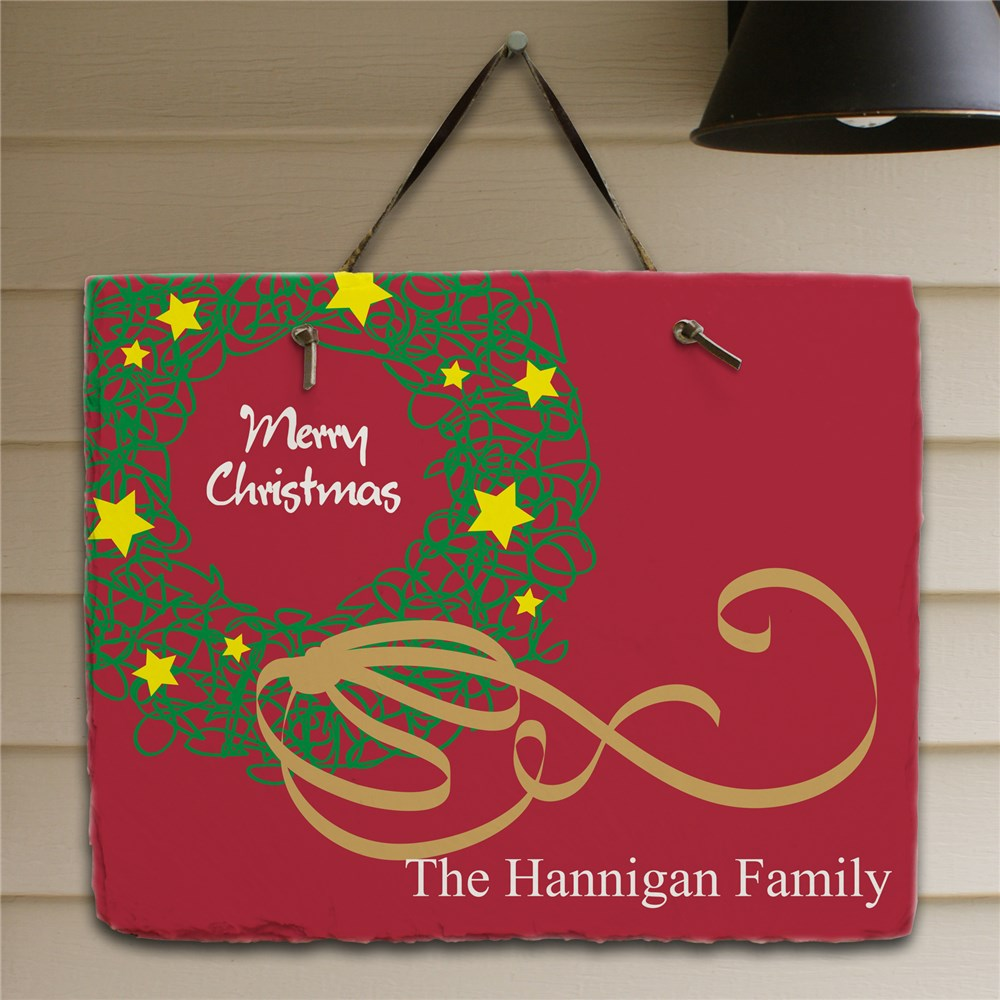 Personalized Christmas Wreath Welcome Slate Plaque | Christmas Plaques