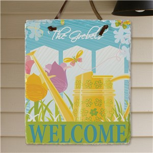 Personalized Watering Can Slate Plaque | Personalized Welcome Signs