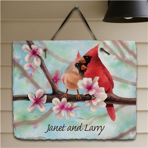 Personalized Spring Cardinals Slate Plaque | Personalized Welcome Signs