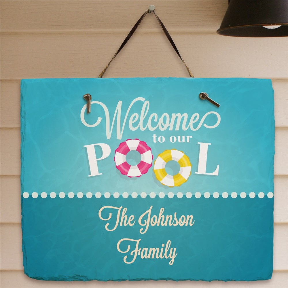 Personalized Swimming Pool Welcome Slate Plaque | Personalized Welcome Signs